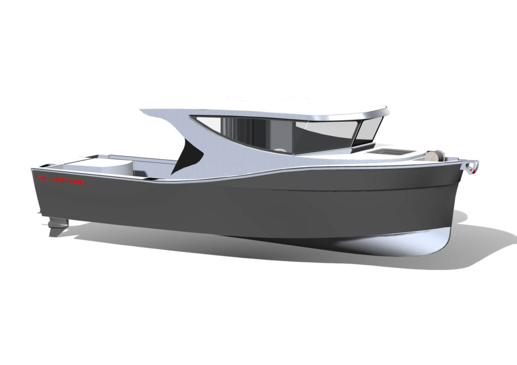 Herley Boats Captain Drawing grey white
