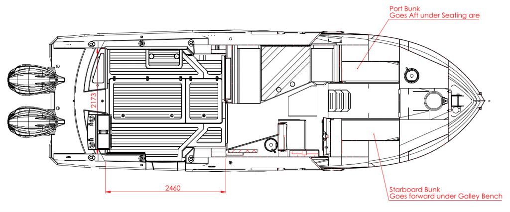 Herley Boats Elite 9 metre aluminium trailer Boat Layout